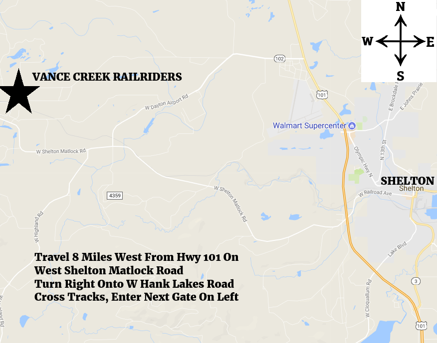 Vance Creek Railriders Location Map